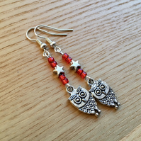 Red Owl Charm Earrings, Gift for Her, Nature Lover Present