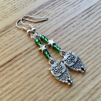 Green Owl Charm Earrings, Gift for Her, Nature Lover Present