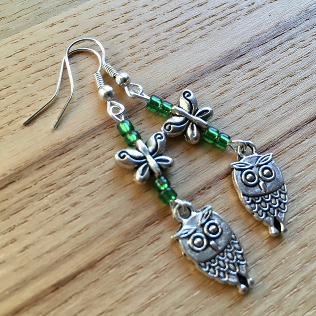 Green Owl and Butterfly Charm Earrings, Gift for Her, Nature Lover Present