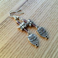 Purple Owl and Butterfly Charm Earrings, Gift for Her, Nature Lover Present