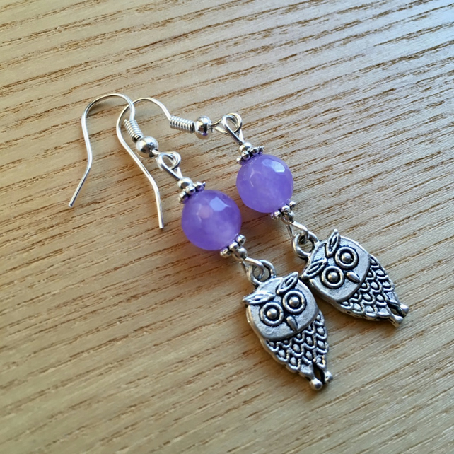 Lilac Owl Charm Earrings, Gift for Her, Nature Lover Present