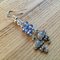 Blue Umbrella Charm Earrings, Gift for Sister or Mum