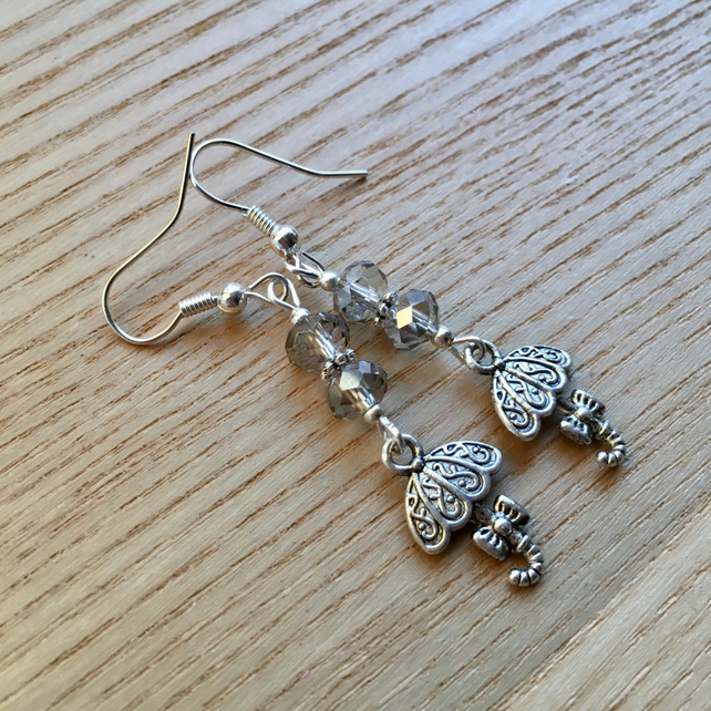 Grey Umbrella Charm Earrings, Gift for Sister or Mum