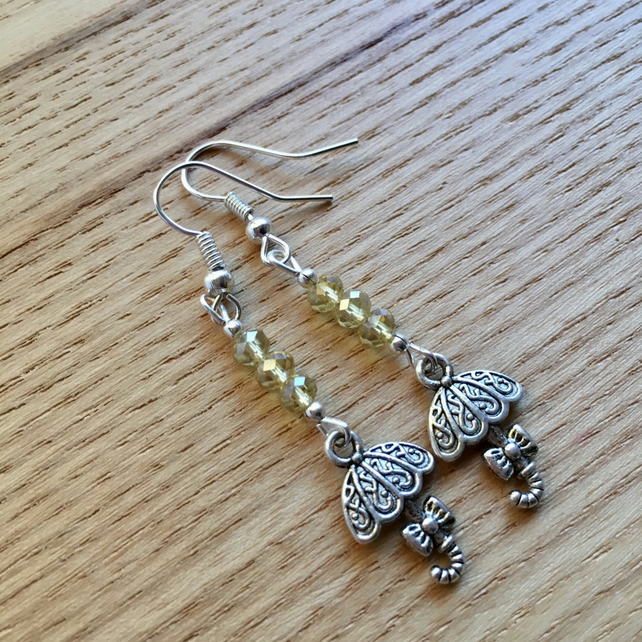 Champagne Yellow Umbrella Charm Earrings, Gift for Sister or Mum