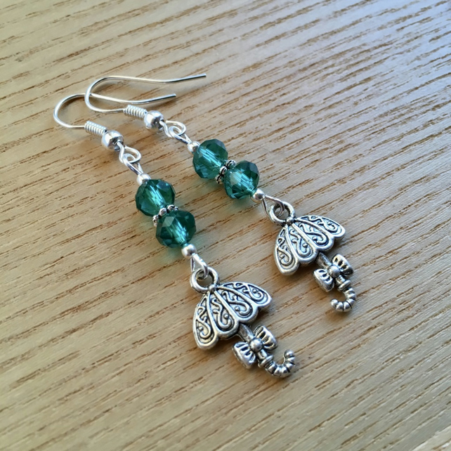 Teal Umbrella Charm Earrings, Gift for Sister or Mum