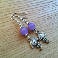 Purple Umbrella Charm Earrings, Gift for Sister or Mum