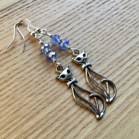 Blue Kitty Cat Charm Earrings, Gift for Her, Cat Lady Present