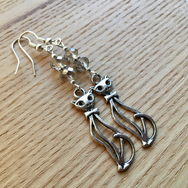 Grey Kitty Cat Charm Earrings, Gift for Her, Cat Lady Present