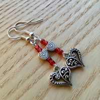 Red Heart Charm Bead Earrings