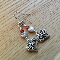 Red Crystal and Heart Charm Bead Earrings