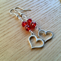 Red Double Crystal and Heart Charm Bead Earrings, Valentines Gift