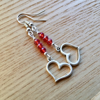 Red Triple Crystal and Heart Charm Bead Earrings, Valentines Gift