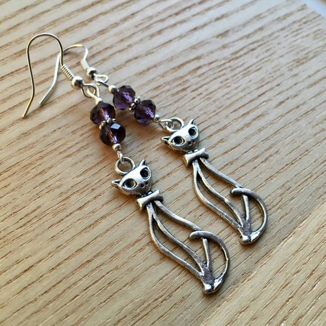 Kitty Cat Charm Earrings, Gift for Her, Cat Lady Present