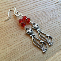 Red Kitty Cat Charm Earrings, Gift for Her, Cat Lady Present
