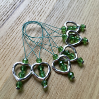 Large Crystal Heart Bead Knitting Stitch Markers pack of 6