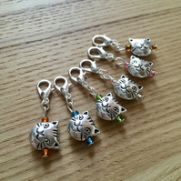 Woodland Cat Crochet Stitch Markers, Gift for Cat Lover