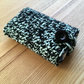 Mint and Black Marl Crochet Travel Tissue Pouch with Button