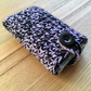 Purple and Black Marl Crochet Travel Tissue Pouch with Button