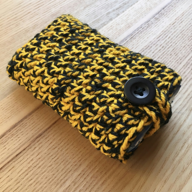 Yellow and Black Marl Crochet Travel Tissue Pouch with Button