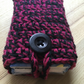 Pink and Black Marl Crochet Travel Tissue Pouch with Button