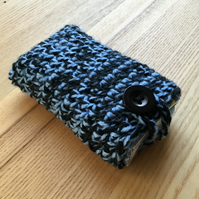 Blue and Black Marl Crochet Travel Tissue Pouch with Button