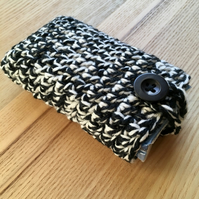 White and Black Marl Crochet Travel Tissue Pouch with Button