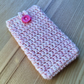 Pink White Marl Crochet Mobile iPhone 6 7 or 8 Cozy with Button