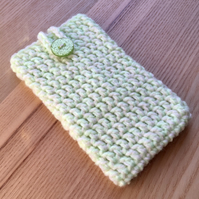 Lime Green Marl Crochet Mobile iPhone 6 7 or 8 Cozy with Button