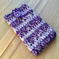 Purple Lilac White Marl Crochet Mobile iPhone 6 7 or 8 Cozy with Button