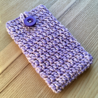 Peach Lilac Marl Crochet Mobile iPhone 6 7 or 8 Cozy with Button