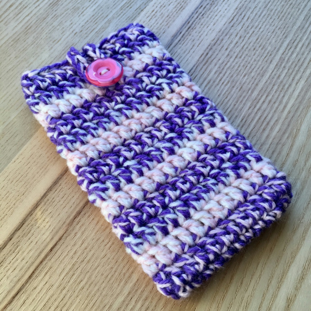 Purple Pink White Marl Crochet Mobile iPhone 6 7 or 8 Cozy with Button