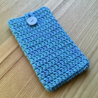 Blue Aqua Marl Crochet Mobile iPhone 6 7 or 8 Plus Cozy with Button