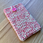 Coral Lime Marl Crochet Mobile iPhone 6 7 or 8 Plus Cozy with Button