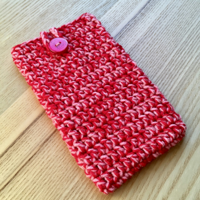 Red Pink Marl Crochet Mobile iPhone 6 7 or 8 Plus Cozy with Button