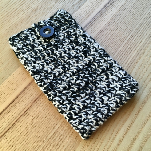 Black White Marl Crochet Mobile iPhone 6 7 or 8 Plus Cozy with Button