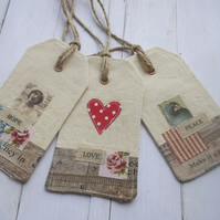 Fabric Gift Tags Set of 3