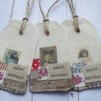 Fabric Gift Tags Set of 3 Happy Birthday