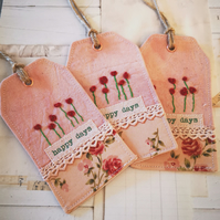 Set of 3 fabric gift tags