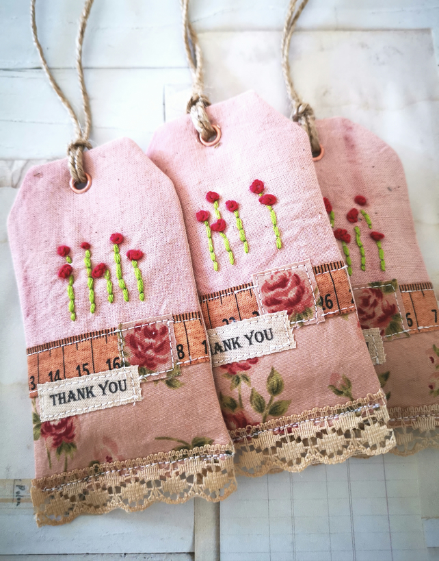 Set of 3 Lavender filled Fabric Gift Tags