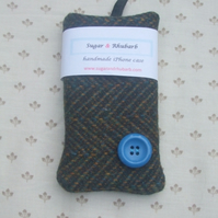 iPhone Case - Blue Button Tweed
