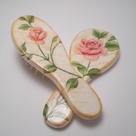 Cute shabby chic wooden set - hand mirror and hair brush
