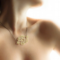 Gold lace necklace , handmade lace , lace fashion , lace jewellery