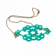 Handmade lace necklace in teal - delicate lace jewellery - lace fashion
