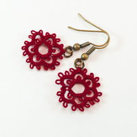 Small deep red lace earrings