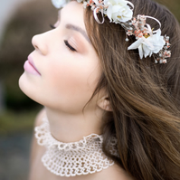 Bridal ruffle lace collar necklace