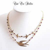 Vintage Garnet & Swallow Necklace