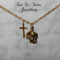 Gold Skull & Cross Necklace