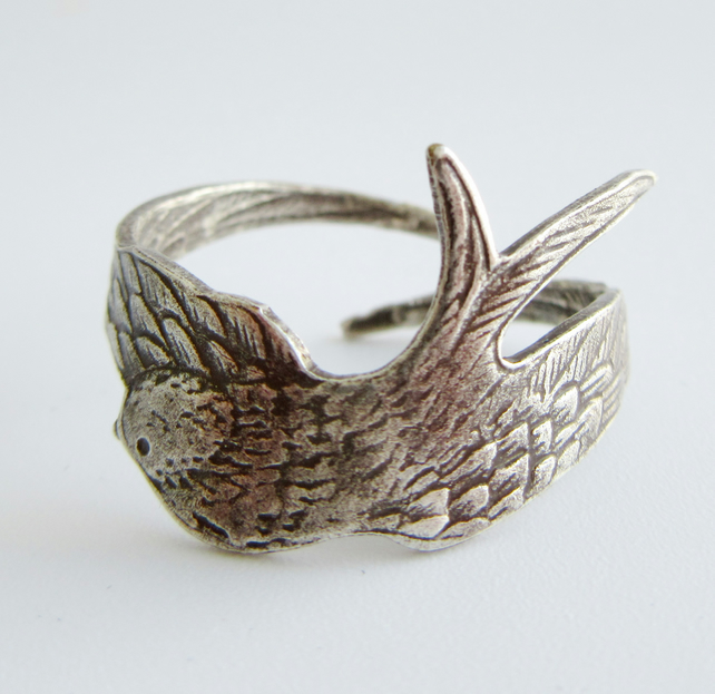Flying Swallow Adjustable Silver Ring