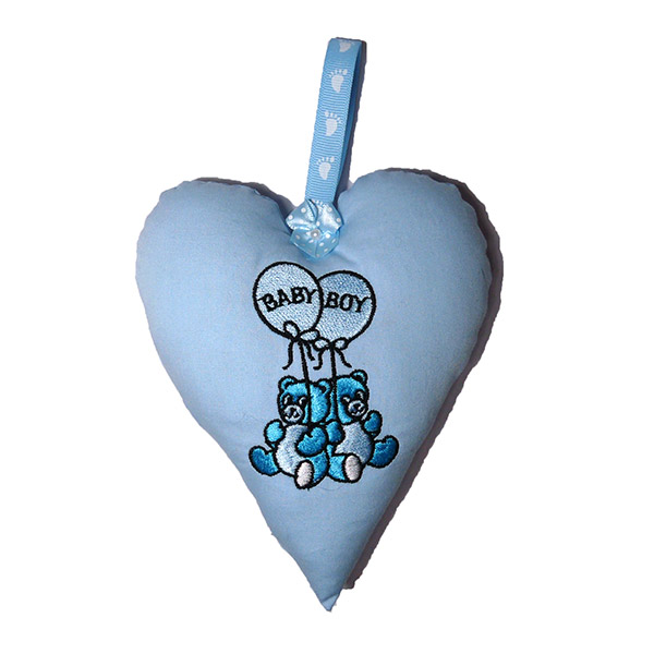 Baby Boy Padded Heart Decoration