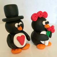 Polymer Clay Penguin Wedding Cake Topper